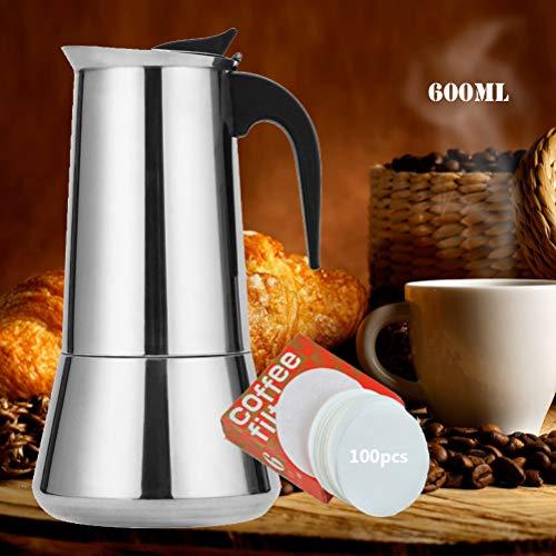 puissant Machine à café italienne EEX, machine à expresso Moka, acier inoxydable, argent, 12 tasses, 100 pièces