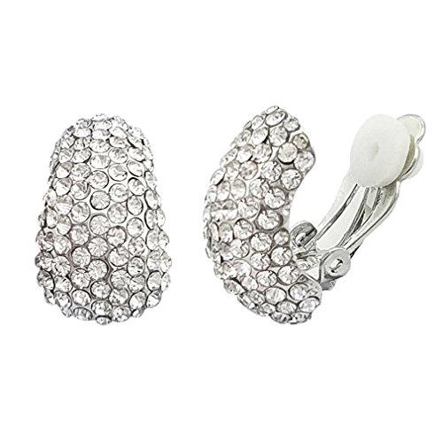 Selovo, orecchini a clip in stile vintage e classico, con cristalli e Argento, colore: Silver Color, cod. EH177