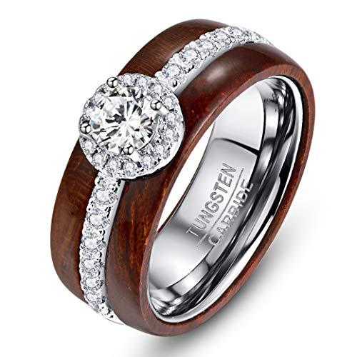 NUNCAD Damen Mädchen Frauen Ring aus Wolfram und Sterling Silber 925 mit Zirkonia in Rundschliff und Koaholz für Hochzeit Verlobung Valentinstag Größe 59 (19)