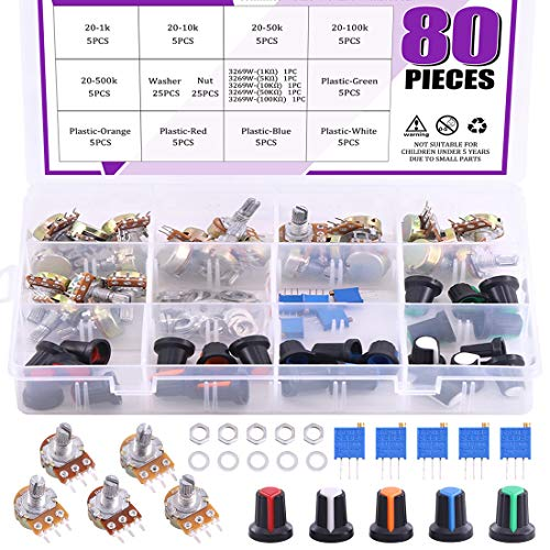 Swpeet 105Pcs 1K-500K Ohm Potentiometer Assortment Kit with 1Kohm -100Kohm Multiturn Trimmer, Knurled Shaft 3 Terminals Single Linear HighPrecision Variable Resistor with Nuts and Washers