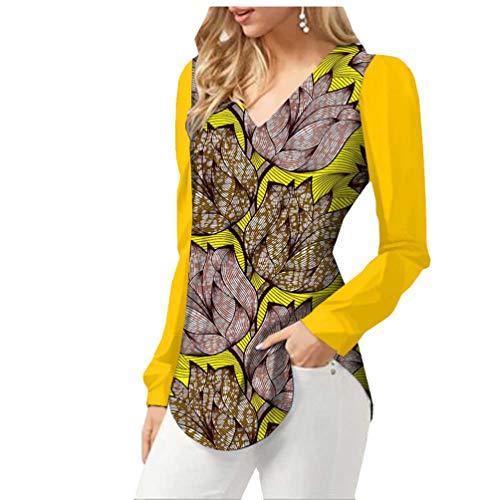 Yiqi Camisa Casual para Mujer Blusa de Impresión Africana con Escote en V Mangas Largas Slim Camisa Tops (Style#4, Asia XL)