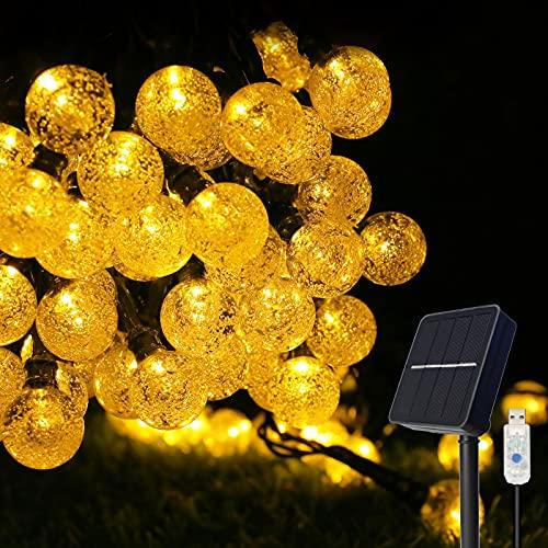 Solar String Lights Outdoor/Indoor,80 LEDs 46FT(14M) Garden Solar Lights IP65 Waterproof,Solar Powered,8 Mode Fairy Light Strings,USB Charge Solar Panel Globe Fairy Lights