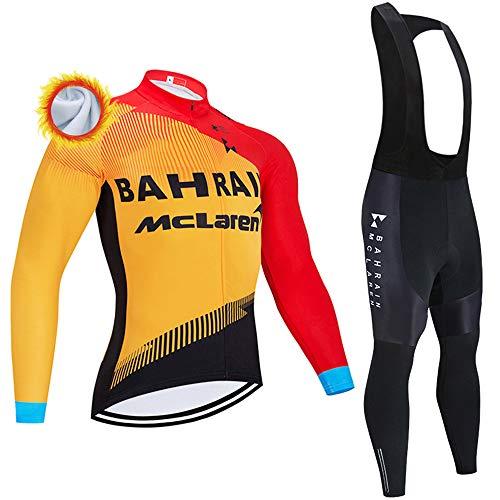 Completo Ciclismo Uomo Termica Abbigliamento Ciclismo Invernale Set con Pantaloni Termica Maglia Ciclismo Uomo Manica Lunga (Molti Stili)
