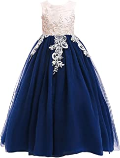 Weileenice 3-16Y Big Girls Lace Bridesmaid Dress Dance Gown A Line Dresses Long for Party Christmas