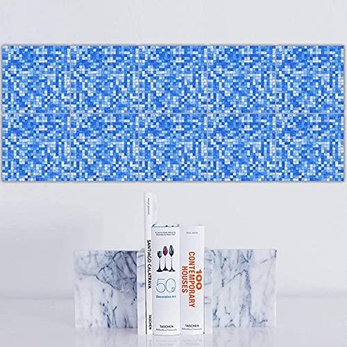 aipipl 20 Pegatinas de Transferencia de Azulejos, Estilo Mosaico, baño, Cocina, Pegar en la Pared, Azulejos, pelar y Pegar, Retro de Moda - Naranja Azul diseños marroquíes Retro Tradicional