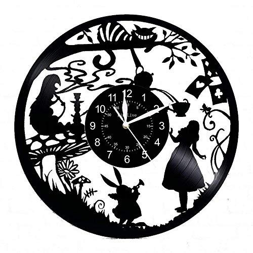 LKCAK Alice nel Paese delle Meraviglie Orologio da Parete in Vinile Orologio da Parete Retro Orologio nostalgico
