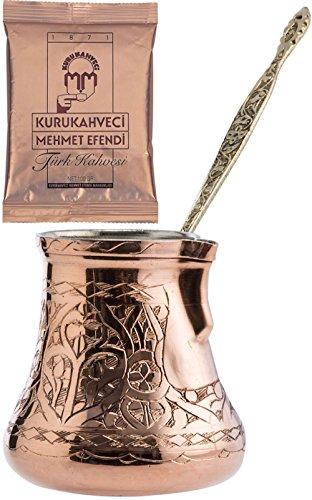 CopperBull 2016 Design XXL Heavy Duty Engraved Copper Turkish Greek Coffee Pot Stovetop Coffee Maker Cezve Ibrik Briki with Brass Handle (24 Oz)
