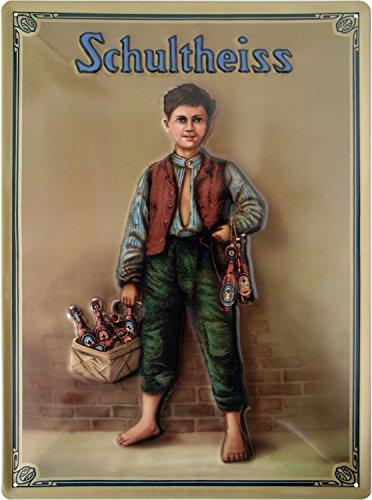 Schultheiss Bier Junge geprägt Nostalgie Reklame Blechschild 30x40 Blech 3040M12
