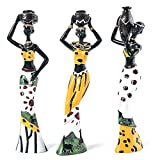 Camisin 3Pcs Retro Vase African Woman Statue Exotic Resin Culture Figurines Set for Home Hotel Living Room Decoration Craft Ornaments Yellow