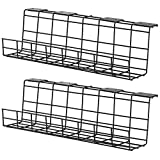 Desk Cable Management Tray - Cable Organizer for Wire Management. Metal Wire Cable Tray for Office and Home. Perfect Standing Desk Cable Management (2pcs)