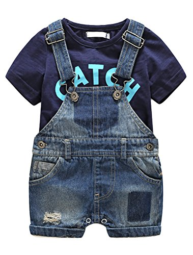 Cute Baby Boys Clothes Toddler Jeans Romper Set wit h Blue Letters Printed Short Sleeve T-Shirt Blue 95