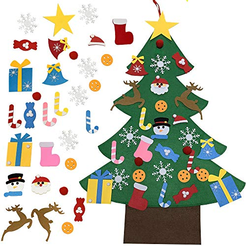Patina Kids DIY Felt Christmas Tree with Ornaments - 32Pcs Ornaments Xmas Decorations Wall Hanging Set Gifts Party Supplies