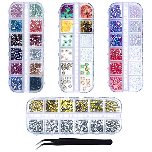 Nail Art Rhinestones, Netspower Nail Crystals Nail Art Gems Kit 4 Box Pearl Glitter Manicure Set Flat Cool Metallic Acrylic Gems Multi-color With Pearl Diamond Beads Flower for DIY 3D Nail Decorations