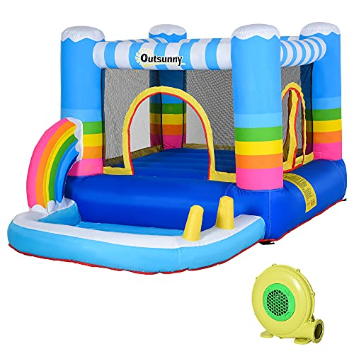 Outsunny Kids Rainbow Bouncy Castle & Pool House Inflatable Trampoline w/ Inflator Pump Outdoor Play Garden Activity Exercise Fun 3-10 Years 2.9 x 2 x 1.55m
