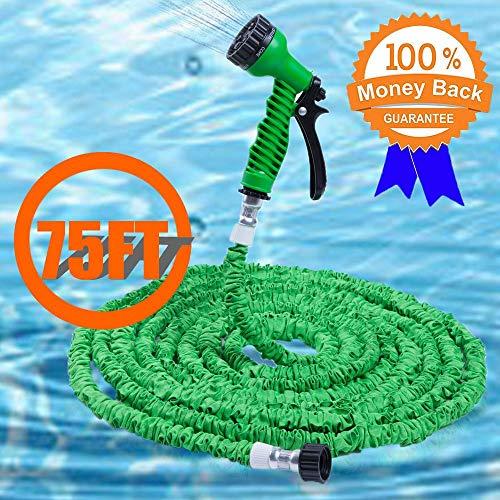Gartenschlauch, flexibler Gartenschlauch Deluxe Latex Triple Layer flexibel erweiterbar Magic Garten Wasser Schlauch mit 7Funktionen Spray Düse & Aluminium Beschläge