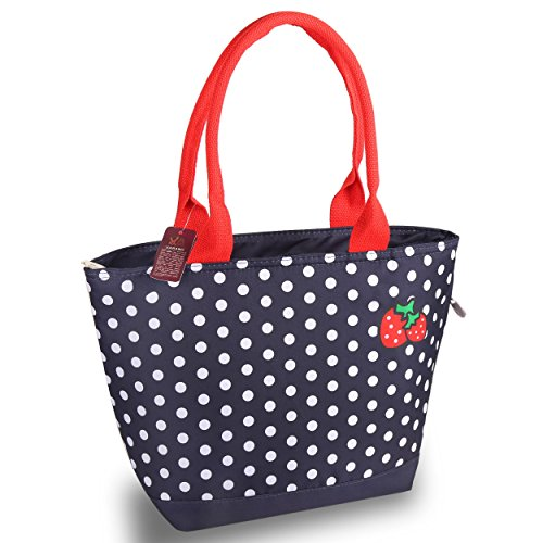 VARANO Insulated Lunch Box - Lunch Bag for Women and Girls/Large Capacity Adults Reusable Lunch Tote Cooler Organizer Bag in Navy Blue with White Polka Dots and Strawberry Design (Strawberries)