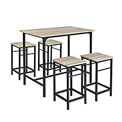 Bar Set--1 Bar Table and 4 Stools, an excellent addition to kitchen, dining room, bistro, pub, etc. Material: MDF coated with PVC. Black powder coated steel frame. Dimensions: Table: L100 x W60 x H87cm. Stool: L32 x W32 x H57cm. Set Weight: 28.5kg. L...