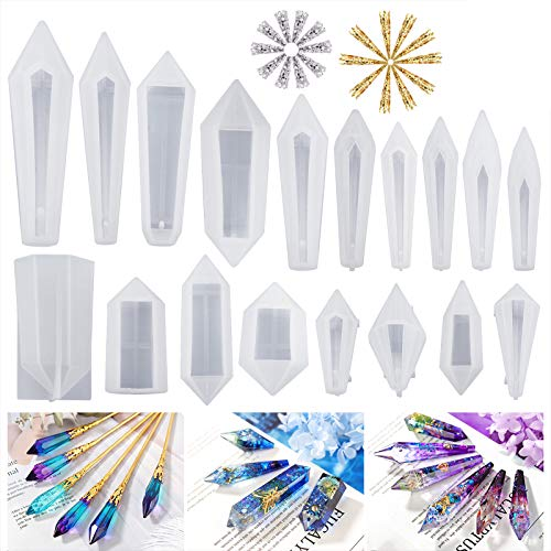 LETS RESIN Resin Molds 18Pcs Pendulum Crystal Molds for Resin,Silicone Molds for Resin Casting,Multi-Facet Gemstone Resin Jewelry Molds for Quartz Crystals Pendants, Healing Crystal Necklace