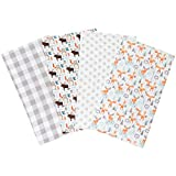 Scandi Moose 4 Pack Flannel Baby Burp Cloth Set - Forest Animal Theme 100% Cotton