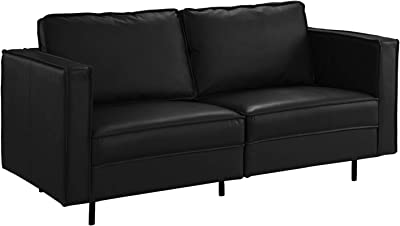 Amazon.com: Black Leather Match Upholstery Sofa, 2 Seat ...