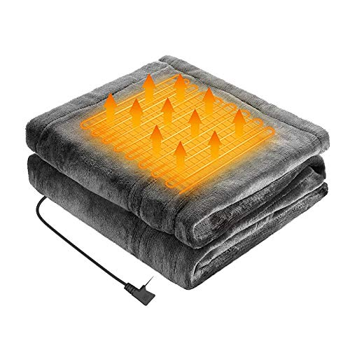 AOXING Manta gruesa portátil ajustable con USB para calentar, 3 niveles de calefacción, material de franela, lavable y a prueba de frío para el hogar, oficina, coche, seguro y cálido en invierno