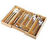 Gräfenstayn® Cubertero de bambú para los cajones de la Cocina (33,5 x 29-45 x...