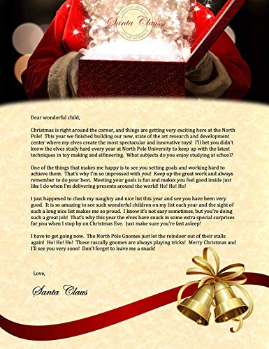 Non-Personalized Christmas Letter from Santa: Mailed Directly to Child in Custom Envelope from The North Pole