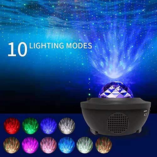 ZXO Starry sky projector nachtlampje, 2-in-1 sterrenhemel nachtlampje en wave projector, muziek Bluetooth speaker timer met afstandsbediening 10 kleuren veranderen, geschikt voor kinderen en volwassenen Halloween C