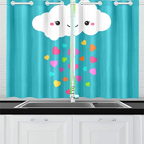 "Kitchen Curtains Abstract Cute Cartoon Rainy Cloud Window Drapes 2 Panel Set for Kitchen Cafe Decor, 52"" X 39"", Best Window Curtains"