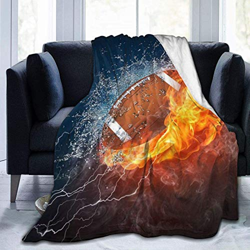 American Football Rugby in Fire and Water Flame Super Soft Throw Blanket, Plush Fluffy Indoor Outdoor Blankets, Warm Comfy Foldable Luxury Throws for Camping Stadium Beach Picnic Car, 40 x 60 Inch