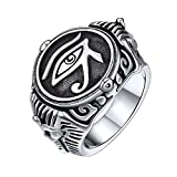 FaithHeart Egypt Eye of Horus Ring Symbol of Protection Round Signet Ring for Men, Stainless Steel Personalized Custom Egyptian Jewelry Eye of Horus Band Ring (Send Gift Box)-Silver/Size 8