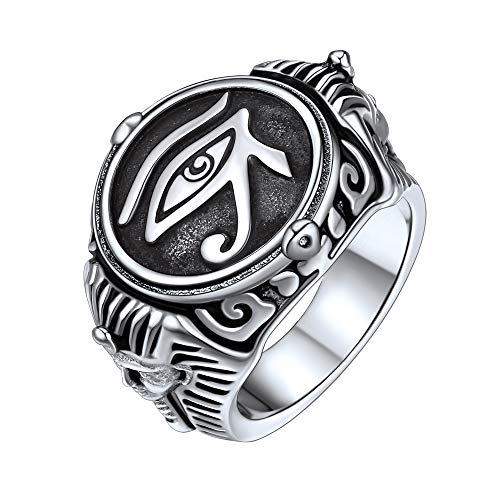 FaithHeart Egypt Eye of Horus Ring Symbol of Protection Round Signet Ring for Men, Stainless Steel Personalized Custom Egyptian Jewelry Eye of Horus Band Ring (Send Gift Box)-Silver/Size 10