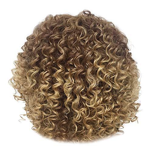 Damen Perücken Blonde Haarfarbe Faser Hochsynthetische Synthetische Kurzes Haar,Nourich Haarverlängerung Perücke Damehaarperücke Gewellte Haare Haarteile Haar Wig (Gold)