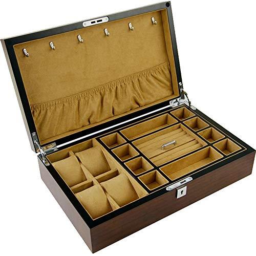 Watch boxes Doppelschichtige multifunktionale Aufbewahrungsbox Schmuckschatulle Holzuhr Schmuck Aufbewahrungsbox Schmuckschatulle Ebenholz Holzmaserung Uhr Schmuck Aufbewahrungsbox