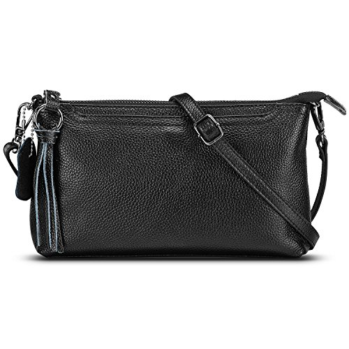Lecxci Women Small Leather Crossbody Bag, Zipper Clutch Phone Wallet Purse with [6 Card Slots] for Women (Black)