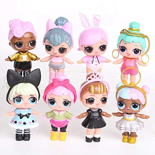Dawei 8 poses Cute L.O.L Surprised dolls cake toppers,L.O.L Figure Cupcake Toppers Picks for Kids Birthday Party, Baby Shower Cake Decorations for Boy and Girl