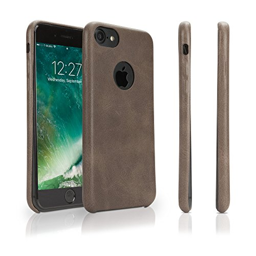 Apple iPhone 7 Hoes, BoxWave® [Lederen Minimus Hoesje met BONUS Sleutelhanger Oplader] Lederen Bekleed, Super Sterk, Hard Shell Hoesje voor Apple iPhone 7 - Klassiek Bruin
