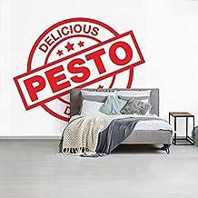 Fotobehang vinyl Pesto illustratie - Fotobehang Pesto illustratie - een pesto label fotobehang vinyl breedte 450 cm x hoog...