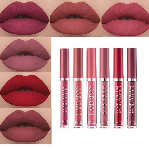 Matte Nude Liquid 6Pcs/Set Lipstick Velvety Long Lasting and Waterproof Makeup Set Non-Stick Cup Moisturizer Durable Lip Gloss kit (B)