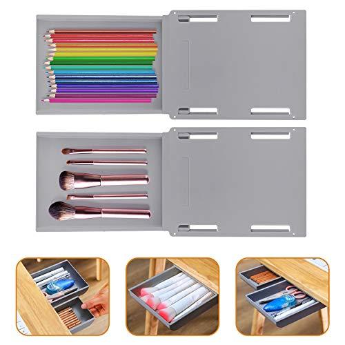 Wisvis Graue Selbstklebende Schubladen-Organizer-Tabletts Tablett Schreibtisch Tisch-Schubladen-Organizer-Box unter Der Schreibtisch-Schubladen-Aufbewahrungsbox für Make-Up-Werkzeuge