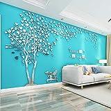 Árbol Pegatinas de Pared 3D Árbol Familia Marco de Fotos DIY Murales Stickers Decoración para Salón, Dormitorio, Oficina, Habitación Pegatinas Pared(3 Plata Izquierda,L-300*150cm)