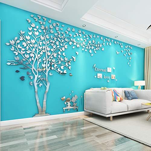 Baum Wandaufkleber Wandtattoo 3D DIY Sticker mit Familie Bilderrahmen Fotorahmen Wandbilder Wandkunst für Wohnzimmer Schlafzimmer Kinderzimmer (Silber Links,M-130 * 250cm)