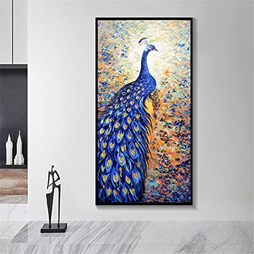 5D Diamond Painting Kits Bricolaje Arte Diamante Pintura para Adultos Completo Bordado Punto de Cruz Manualidades Decoración de Pared del Hogar(Peacock-Square Drill,40x120cm)