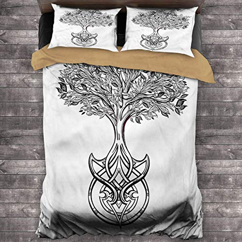 LanQiao Tree of Life Extra Large Duvet Cover Spiritual Celtic Knot Duvet Cover with Two Pillowcases 104'x89' inch