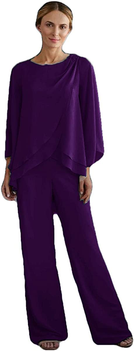2 Pieces Mother of The Bride Pants Suits Chiffon Long Sleeve Mother's Dress Wedding Guest Wear