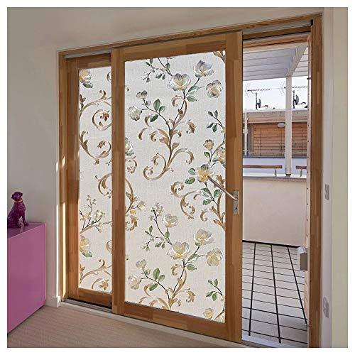 N / A 3D dreidimensionale Fensterfolie geprägt Pfingstrose Glas Aufkleber Farbe undurchsichtig Private antistatische Selbstklebende Glas Wohnkultur Folie A4440x200cm