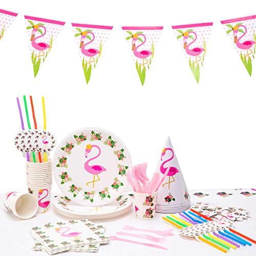 Kingmate 102-Teiliges Geburtstagsset Flamingo Party Set für 20 Personen Geburtstagsdeko Tischdeko, Pappteller, Pappbecher, Servietten, Geburtstag Augenklappen, Tischdecke.