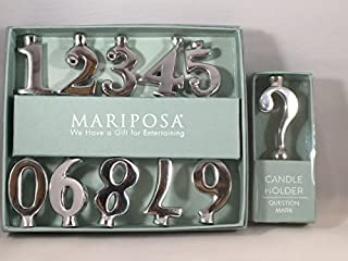 Mariposa Birthday Number Candle Holder Set with Question Mark for the Years you need an extra Candle holder