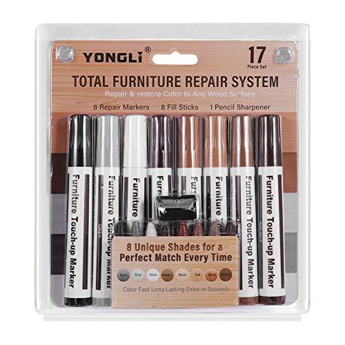 YCZ - Kit di riparazione per mobili, per riparazione di graffi, macchie, cera, set di 17 pennarelli e bastoncini di cera con kit temperamatite per mobili Repai