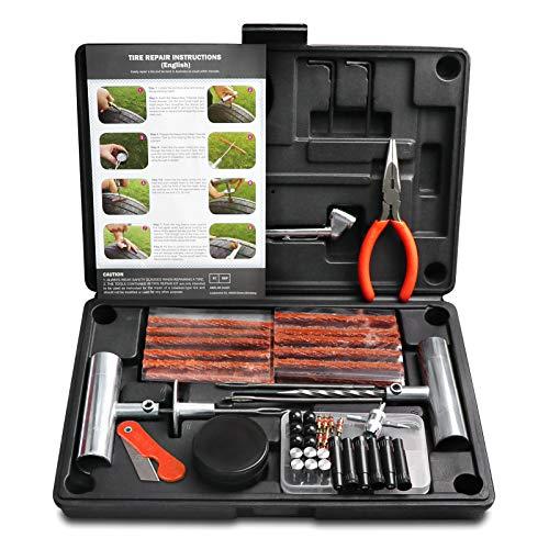 MAIKEHIGH Kit de Reparación de Neumáticos, 87 Piezas Tubeless Kit Repara Pinchazos Flat para Coche, Camión, Motocicleta, ATV, Jeep (Negro)